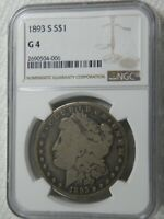 1893-S MORGAN $1 CERTIFIED NGC G-4 AS PICTURED PERFECT FOR GRADE