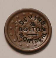 1854 BRAIDED HAIR LARGE CENT DEVINS & BOLTON MONTREAL COUNTE