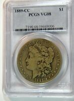 1889-CC MORGAN DOLLAR PCGS VG-8 PICTURE PERFECT NO PROBLEMS IN OLD PCGS HOLDER