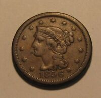 1856 BRAIDED HAIR LARGE CENT PENNY   NICE OBVERSE / DAMAGED
