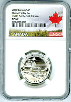 2020 $5 CANADA SILVER NGC SP69 HUDSONS BAY CO 350TH ANNIV FI