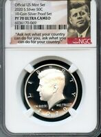 2020 S SILVER .999 KENNEDY 50C FROM 10 COIN SILVER PF SET NG