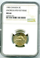 1985 CANADA 5 CENT NICKEL NGC MS66 UNCIRCULATED SET ISSUE
