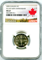 2005 CANADA 5 CENT NGC MS67 V E VE DAY 60TH ANNIVERSARY VICT