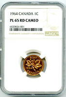 1964 CANADA CENT NGC PL65 RD ' CAMEO ' PROOF LIKE PENNY