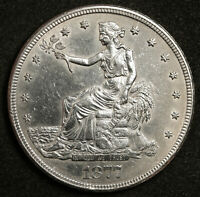 1877 S TRADE DOLLAR.  PROOF LIKE AU. WITH CHOP MARK REVERSE  152504
