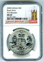 2020 2PD GREAT BRITAIN 1OZ SILVER ROYAL ARMS NGC MS69 FIRST