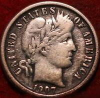 1907 O NEW ORLEANS MINT SILVER BARBER DIME