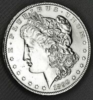 1890-S SILVER DOLLAR.  FULL CHEST FEATHERS.    BU  INV.A