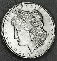 1891-S SILVER DOLLAR.    FULL CHEST FEATHERS.     BU  INV-A