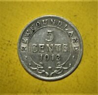 CANADA NEWFOUNDLAND 5 CENTS 1912 VERY FINE  / EXTREMELY FINE