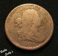 1804 DRAPED BUST HALF CENT <> VG TO F DETAILS