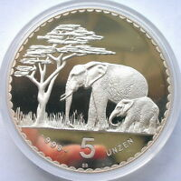 NAMIBIA 1987 ELEPHANT GERMAN COLONIAL 5OZ SILVER COIN PROOF