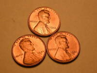 1945-P-D-S CH/GEM BU UNCIRCULATED RED LINCOLN CENT SET OF 3 FROM BU ROLLS  48