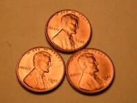 1945-P-D-S CH/GEM BU UNCIRCULATED RED LINCOLN CENT SET OF 3 FROM BU ROLLS  49
