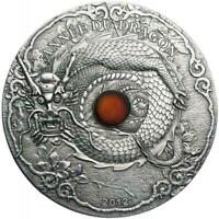 TOGO 2012 1500 FRANCS CFA YEAR OF DRAGON 2 OZ SILVER COIN WITH AMBER