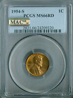 1954-S LINCOLN CENT PCGS MAC MINT STATE 66 RED PQ SPOTLESS
