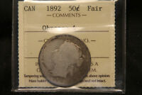 1892 CANADA SILVER 50 CENTS QUEEN VICTORIA. ICCS CERTIFIED COIN.