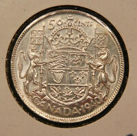 1940 CANADA SILVER 50 CENTS LUSTROUS HIGH GRADE KING GEORGE VI COIN.