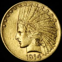 AU 1914 US $10 INDIAN HEAD GOLD EAGLE COIN   NO RESERVE