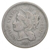 1867 NICKEL THREE CENT PIECE   CHARLES COIN COLLECTION  153
