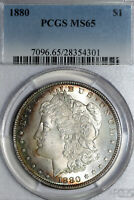 RAINBOW TONED BETTER DATE 1880-P MORGAN SILVER DOLLAR PCGS MINT STATE 65 28354301
