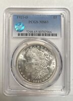 MORGAN SILVER DOLLAR 1921 D PCGS MINT STATE 65 SIGHT WHITE
