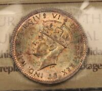1942 C CANADA SILVER 5 CENTS NEWFOUNDLAND MS64 ICCS. PRETTY COLORFUL TONING