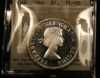 1964 CANADA SILVER DOLLAR PL 66 HEAVY CAMEO ICCS CERTIFIED.