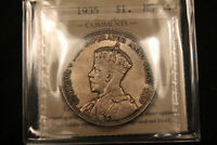 1935 CANADA SILVER DOLLAR MS64 ICCS CERTIFIED. OLD 2 LETTER CERT.
