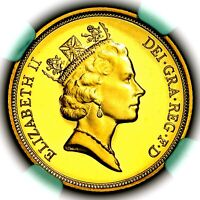 1993 QUEEN ELIZABETH II GREAT BRITAIN GOLD PROOF SOVEREIGN NGC PF69 ULTRA CAMEO