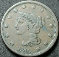 1840 LARGE DATE BRAIDED HAIR LARGE CENT COIN