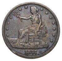 1877 SEATED LIBERTY SILVER TRADE DOLLAR   CHARLES COIN COLLECTION  494