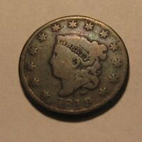 1819/18  OVERDATE  CORONET HEAD LARGE CENT PENNY   CIRCULATE
