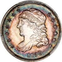 1835 1/2 DIME CAPPED BUST PCGS MS 62 VIBRANT COLORFUL PERIPHERAL TONING
