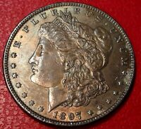 100 YEARS OLD COIN1897 P MORGAN SILVER DOLLAR CHOICE UNCIRCULATED TONED 1702