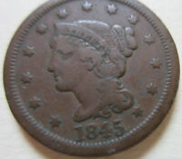 1845 US BRAIDED HAIR LARGE CENT COIN.  GRADE C418