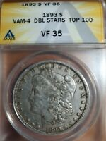 1893-P VF 35 VAM 4 DOUBLE STARS ANACS $1 MORGAN SILVER DOLLAR