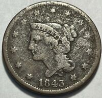 USA - BRAIDED HAIR LARGE CENT - 1843 - PETITE HEAD SMALL LETTERS - GOOD