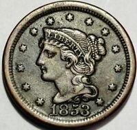 USA - BRAIDED HAIR LARGE CENT - 1853 -  FINE - WHOLESALE