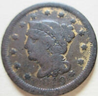 1849 US BRAIDED HAIR LARGE CENT COIN. BETTER GRADE C419