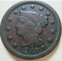 1847 US BRAIDED HAIR LARGE CENT COIN. BETTER GRADE C421
