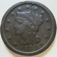 1844 US BRAIDED HAIR LARGE CENT COIN. C424