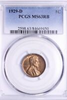 1929-D LINCOLN WHEAT CENT PENNY PCGS MINT STATE 63RB  RICH COLOR SHIPS FREE 1-AHM