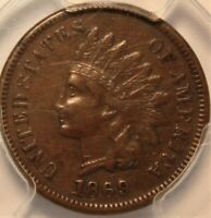 1869 INDIAN HEAD CENT. PCGS VF35. SEMI KEY DATE. CHOICE FOR