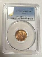 SMALL CENTS LINCOLN, WHEAT EARS REVERSE 1909 P PCGS MINT STATE 65 RD  LINCOLN