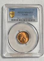 SMALL CENTS LINCOLN, WHEAT EARS REVERSE 1909 P PCGS MINT STATE 66 RD  LINCOLN