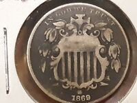 1869 SHIELD NICKEL VG DETAIL