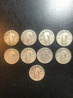 STARTER SET STANDING LIBERTY QUARTER SET 1917-30 9 DIFFERENT COINS90 SILVER