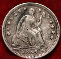 1855 PHILADELPHIA MINT SILVER SEATED LIBERTY HALF DIME WITH